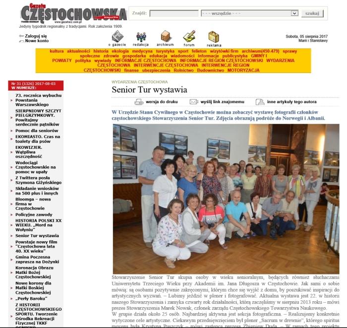 Gazeta Częstochowska artykuł o Senior Tur